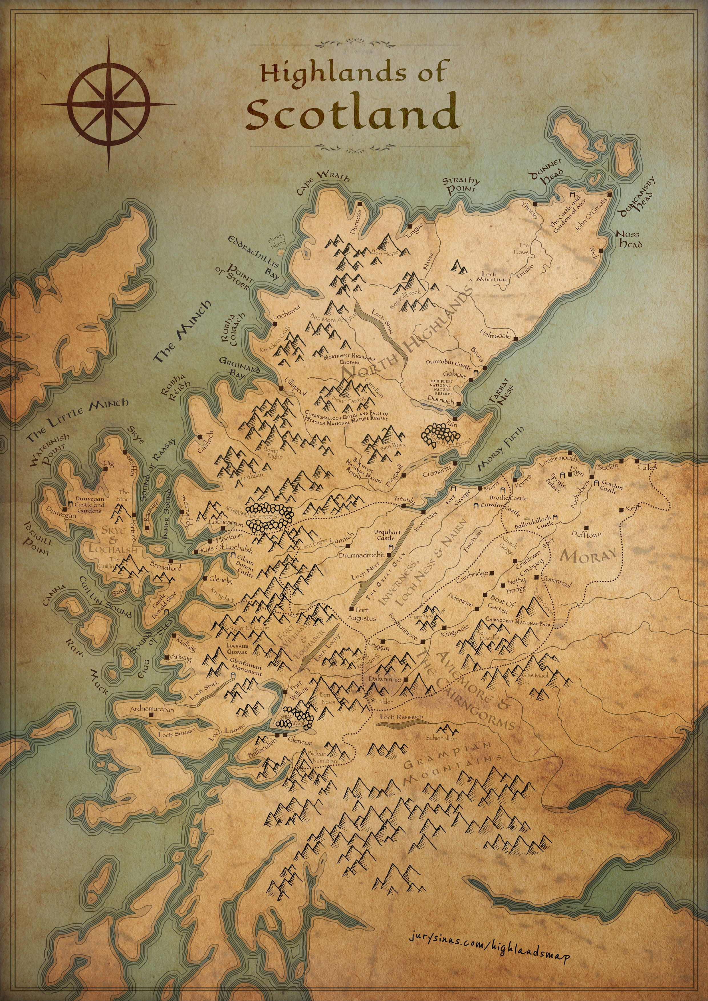 A Tolkienesque Take: Scottish Highlands Map (Fantasy Edition ...