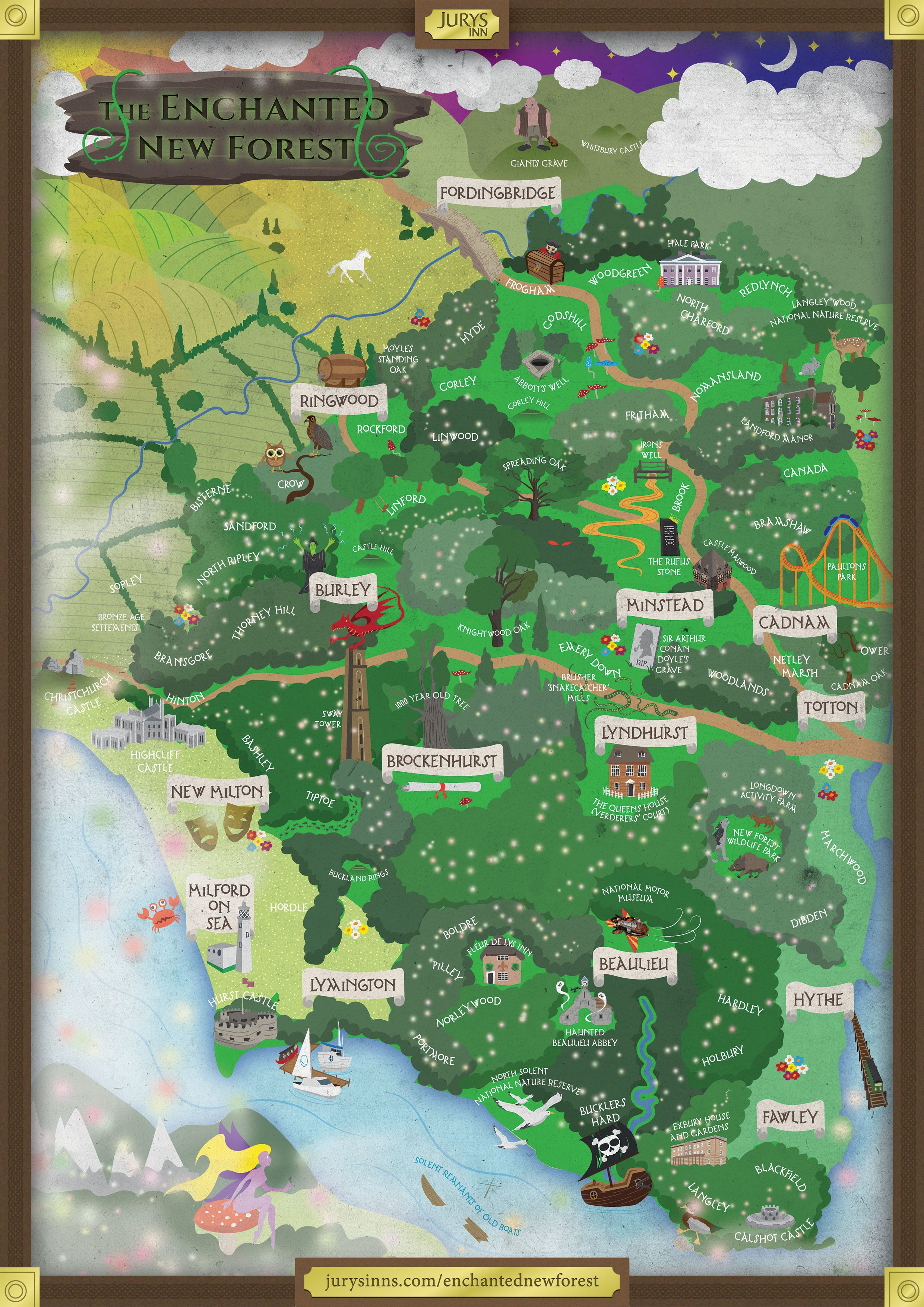 Map New Forest The Enchanted New Forest, a magical map by Jurys Inns Map New Forest